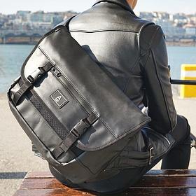 [에이비로드] ABROAD - [PREMIUM]Smart Messenger Bag (black)_ 프리미엄라인 메신저백 메신져백 메쉬 가죽 블랙