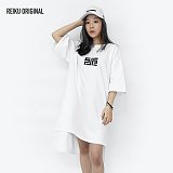 [레이쿠] reiku SJP symbol short unbalance dress one-piece white 반팔 언발원피스 롱티