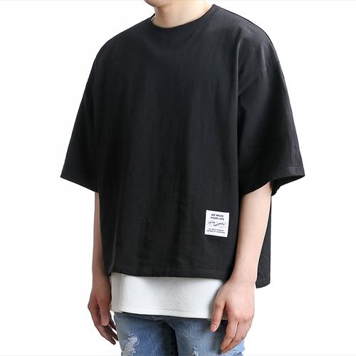 [쟈니웨스트] JHONNYWEST - PG Unbalance Cut (Black) 반팔 반팔티 티셔츠 레이어드 레이어드티셔츠