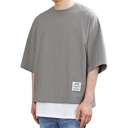 [쟈니웨스트] JHONNYWEST - PG Unbalance Cut (Cement) 반팔 반팔티 티셔츠 레이어드 레이어드티셔츠
