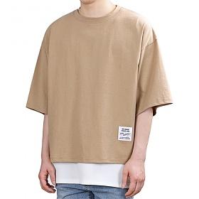 [쟈니웨스트] JHONNYWEST - PG Unbalance Cut (Camelo) 반팔 반팔티 티셔츠 레이어드 레이어드티셔츠