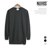 [뉴비스] NUVIIS - 오버핏 트임 롱 맨투맨 티셔츠 (BN008MT) 스웨트셔츠 크루넥