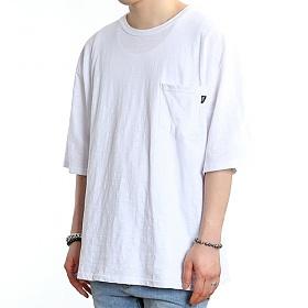 [쟈니웨스트] JHONNYWEST - Wide Slub Pocke-T (White) 반팔 반팔티 티셔츠
