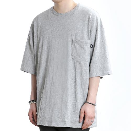 [쟈니웨스트] JHONNYWEST - Wide Slub Pocke-T (Gray) 반팔 반팔티 티셔츠