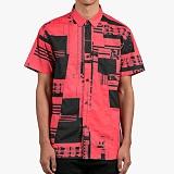 [도프]DOPE Glitch S/S Button-Up (Black/Infrared) 반팔남방 셔츠