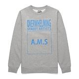[라지크] RAZK - A.M.S CREWNECK (GRAY) 기모 맨투맨 크루넥 스��셔츠 티셔츠