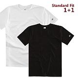[어커버]ACOVER - [1+1] Standard Cotton Rib T-shirts 반팔 반팔티 반팔티셔츠 티셔츠