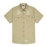 [스티그마]STIGMA - EAGLE WORK SHIRTS BEIGE 반팔남방 워크셔츠 셔츠