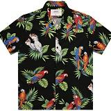 [언더에어] UNDER AIR  Big Parrot Aloha Shirt(U) - Black 반팔셔츠 하와이안 셔츠