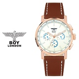 보이런던시계 BLD9105-RGWH(로즈화이트) 남성 가죽손목시계