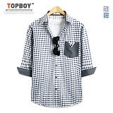 [탑보이] TOPBOY -  삼각포켓 체크 7부셔츠 (DL437) 셔츠 남방