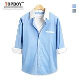 [탑보이] 화이트배색 7부셔츠 (DL436) 셔츠 남방