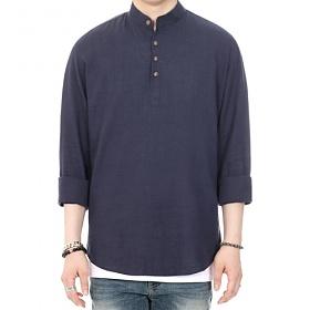 [쟈니웨스트] JHONNYWEST - Pull Over Linen Shirt (Navy) 풀오버 린넨셔츠 셔츠 남방 폴오버셔츠