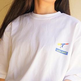 [에이비로드] ABROAD - Water Gun Half T-Shirts (blue) 반팔티 반팔