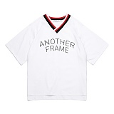 [어나더프레임] ANOTHER FRAME - AF BASIC LOGO V NECK T-SHIRT (WHITE) 반팔티 반팔 티셔츠