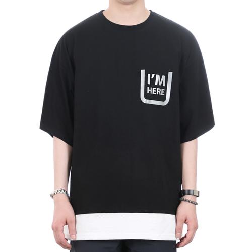 [쟈니웨스트] JHONNYWEST - Scotch Layered Xmesh (Black) 반팔 반팔티 티셔츠 레이어드 레이어드티셔츠