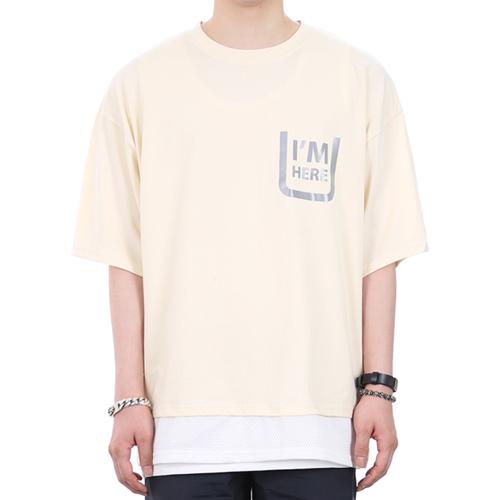 [쟈니웨스트] JHONNYWEST - Scotch Layered Xmesh (I.Vanilla) 반팔 반팔티 티셔츠 레이어드 레이어드티셔츠