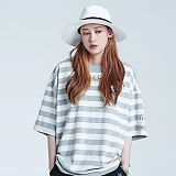 [로맨틱크라운]ROMANTICCROWN - STRIPE WIDE 1/2 SHIRT_GRAY 반팔티