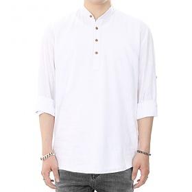 [쟈니웨스트] JHONNYWEST - Pull Over Linen Shirt (White) 풀오버 린넨셔츠 셔츠 남방 폴오버셔츠