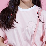 [플랩비]FLAPB - LOGO OVER FIT T-SHIRTS (PINK)★와펜증정★ 반팔 반팔티 티셔츠 오버핏 트윈룩 무지티 플랩비티셔츠 자수티