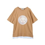 [주씨]ZOOICY - 2016 S/S Chic Cat (Beige) 반팔 반팔티 티셔츠 캐릭터티셔츠 베이지