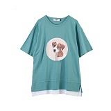 [주씨]ZOOICY - 2016 S/S Pinkdog (Emerald) 반팔 반팔티 티셔츠 캐릭터티셔츠 그린 에메랄드