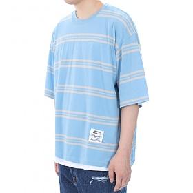 [쟈니웨스트] JHONNYWEST - [Boxerfit] W.Stripe (Sky) 반팔티 티셔츠