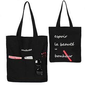 [와드로브]wardrobe - SUMMER POCKET ECO BAG_BLACK 썸머 포켓 에코백 가방 블랙