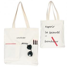 [와드로브]wardrobe - SUMMER POCKET ECO BAG_WHITE 썸머 포켓 에코백 가방 화이트