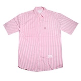 [우스트릿] WOOSTREET 스트라이프 오버 반팔셔츠 분홍 W31