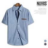 [뉴비스] NUVIIS - 레더포켓 데님 반팔 셔츠 (DP013SH) 반팔셔츠 반팔남방 셔츠반팔