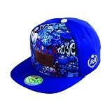 [더블에이에이피티드]DOUBLEAAFITTED - Blue Graffiti DA Faux Leather patch cap 스냅백