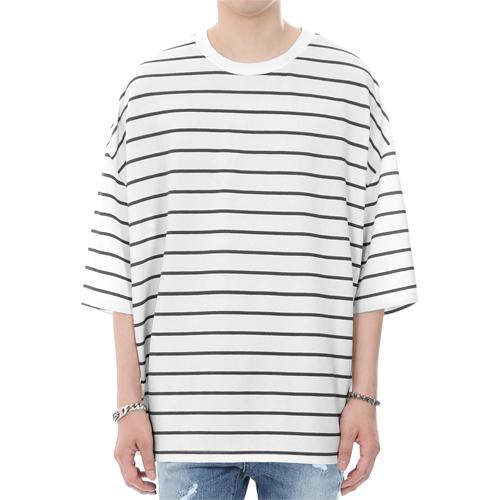 [쟈니웨스트] JHONNYWEST - Embo Stripe Oversize Fit (Black) 오버핏 오버사이즈 반팔티