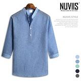 뉴비스 - 파스텔 코튼 헨리넥 버튼 7부셔츠 (MS025SH) 남방 7부남방