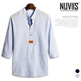 뉴비스 - 솔리드 레더 패치 헨리넥 7부셔츠 (MS021SH) 남방 7부남방