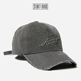 [스턴트] STUNT Damaged Denim Logo Cap (Ash Black)
