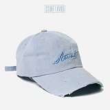 [스턴트] STUNT Damaged Denim Logo Cap (Ash Blue)