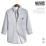 뉴비스 - 스트라이프 레더패치 7부셔츠 (MS034SH) 셔츠 남방 7부남방