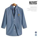 뉴비스 - 코튼데님 레더패치 7부셔츠 (MS033SH) 셔츠 남방 7부남방