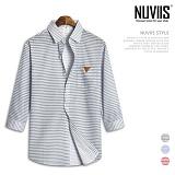 뉴비스 - 잔스트라이프 레더패치 7부셔츠 (MS032SH) 셔츠 남방 7부남방