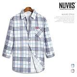 뉴비스 - 더블체크 데님배색 7부셔츠 (MS027SH) 셔츠 남방 7부남방