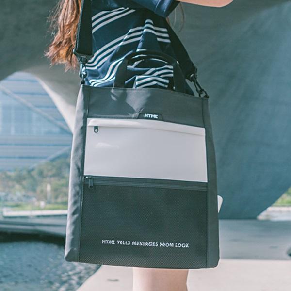 [에이치티엠엘]HTML - Muscle L3 Tote Cross Bag (BLACK/WHITE) 가방 토트백 크로스백 투웨이