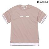 [앨빈클로]ALVINCLO  AST-3515P BRAVERY 레이어드 오버핏 티셔츠 반팔 반팔티