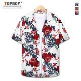 [탑보이] TOPBOY -  워싱 플라워 오버핏 반팔셔츠 (RW210) 셔츠 하와이안셔츠