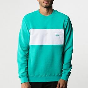 ※[스투시]STUSSY - POCKET PANEL CREW 118173 (TEAL) 투톤 맨투맨 티셔츠