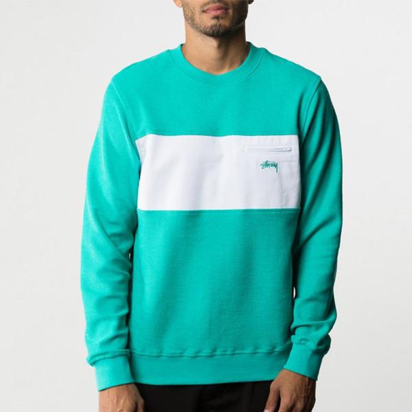 [스투시]STUSSY - POCKET PANEL CREW 118173 (TEAL) 투톤 맨투맨 티셔츠