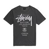 [스투시]STUSSY - WORLD TOUR PIG. DYED TEE 1903880 (BLACK) 로고 월드투어 반팔티