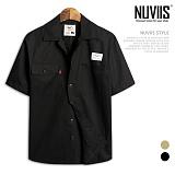 [뉴비스] NIUVIIS - 투 포켓 오픈카라 박스 반팔셔츠 (DS024SH) 셔츠 반팔남방