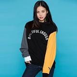 [모티브스트릿] MOTIVESTREET - COLOR BLOCK SWEAT SHIRT BLACK 컬러 블록 크루넥 스��셔츠 맨투맨