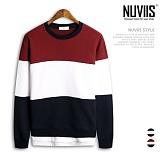 [뉴비스] NUVIIS - 삼단 배색 레이어드 오버핏 맨투맨(RT063MT)